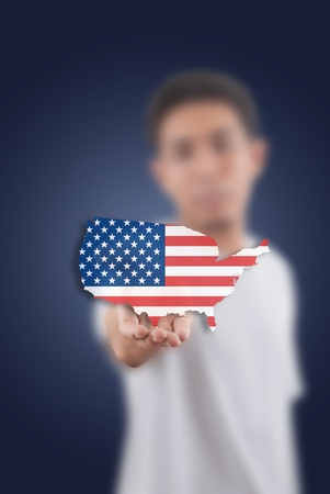 Asian man giving USA flag on the white board. Stock Photo - 11072071