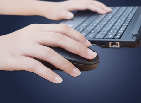 Hand click mouse. photo