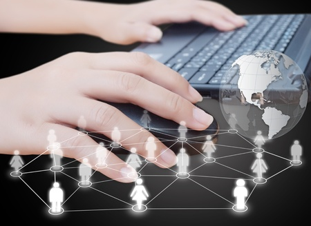 Hand click mouse with social network. Stock Photo - 11072343
