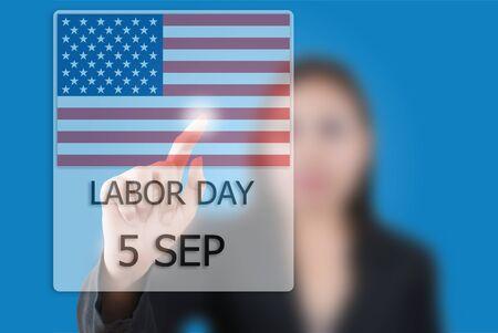 Asian business lady pushing Labor day. photo