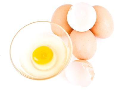 Fresh eggs isolated on the white background. photo