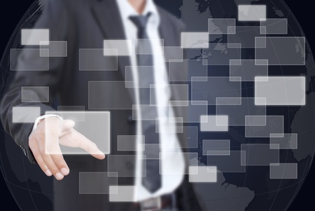 Asian businessman pushing button on the whiteboard. Stock Photo - 11126901