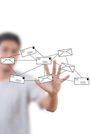 Asian businessman writing mail social network. photo