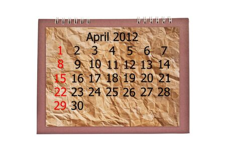 Vintage April calendar isolated on the white. photo