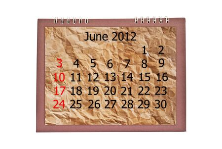 Vintage June calendar isolated on the white. photo