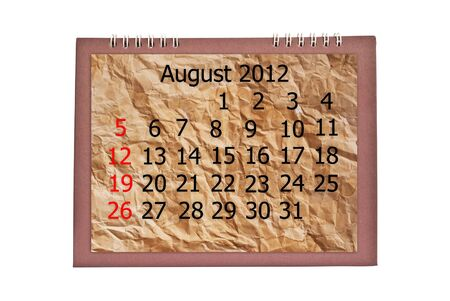 Vintage August calendar isolated on the white. photo