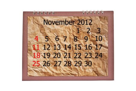 november calendar: Vintage November calendar isolated on the white. Stock Photo
