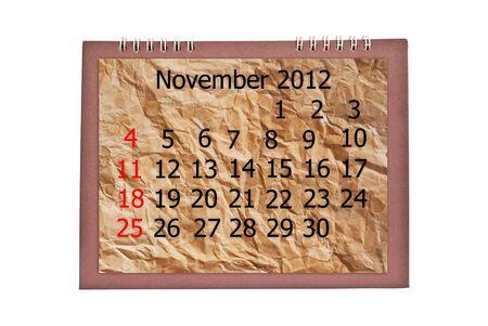 Vintage November calendar isolated on the white. Stock Photo - 11163699