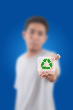 Asian man giving recycle symbol for save world. photo