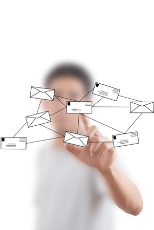 Asian businessman pushing mail for social network. photo
