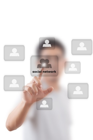 Asian businessman putting people social network. photo