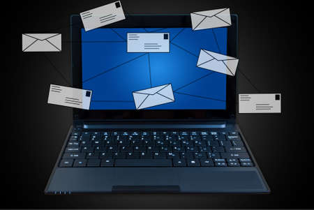 Laptop with mail social network. photo