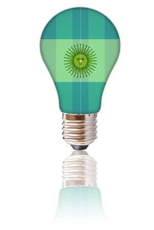 cogitation: Light bulb with Argentina flag isolated.