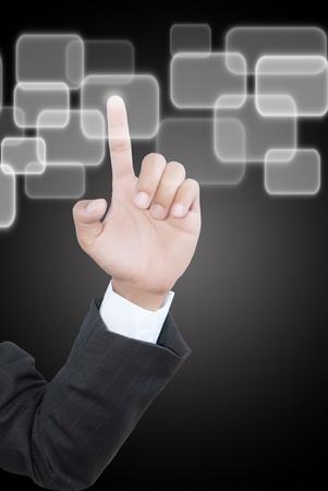 pushing the button: Empresas mano presionando el bot�n en la pizarra.