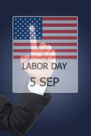 Business hand pushing 5 September Labor day. photo