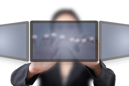 Asian business lady pushing on tablet screen. photo