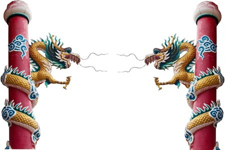 festival scales: Dragon statue isolated on the white background.