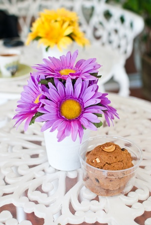 Colorful flower in the coffee shop. photo