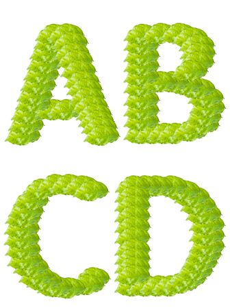 one colour: Green leaf A B C D alphabet character.