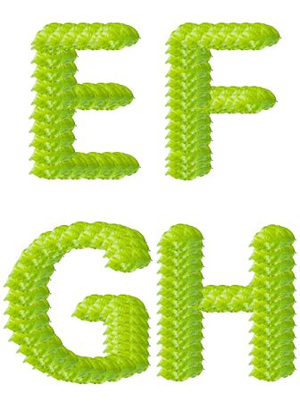 one colour: Green leaf E F G H alphabet character.