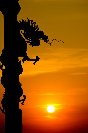 Dragon silhouette with sunset.
