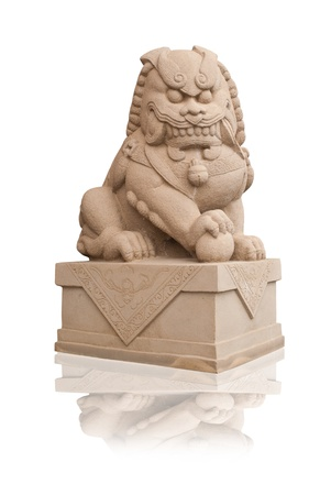 Chinese lion statue isolated on the white background. photo