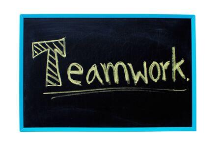 combined effort: Teamwork  word handwritten with chalk on a blackboard.
