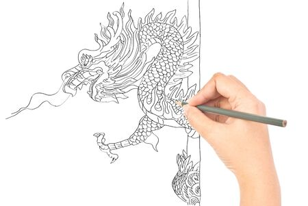 Hand drawing dragon statue. photo
