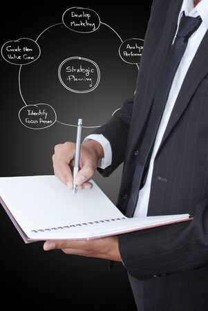 Businessman write on notebook.