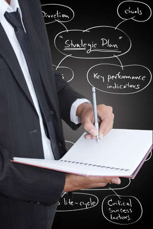 Businessman write on notebook. photo