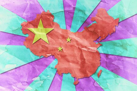 Vintage China flag paper grunge. photo