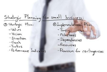 Businessman pushing business strategic planning on the whiteboard. photo