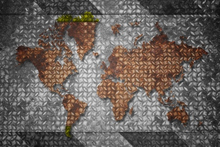 Vintage world map with vintage steel texture. photo