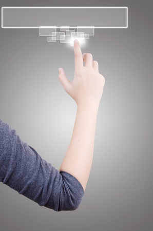 Business hand pushing button on touch screen. photo