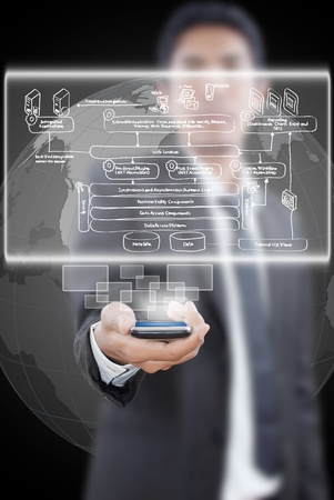 putting: Businessman putting mobile phone with web service diagram. Stock Photo