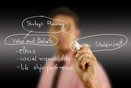 Businessman write business strategic planning on the whiteboard. Stock Photo - 12120122