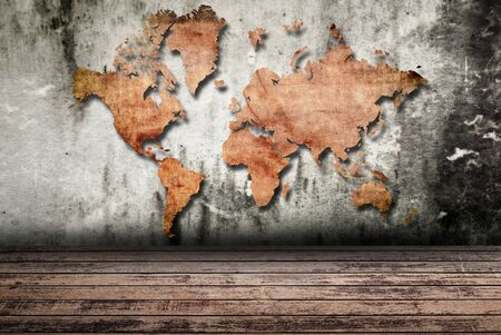 Vintage world map carving on wall texture. Stock Photo - 12372466