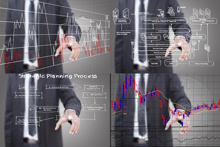 Set of Businessman pushing graph on the whiteboard. Stock Photo - 12394902