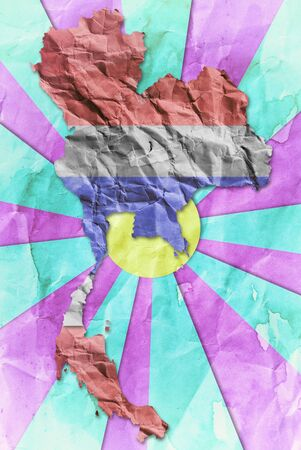 Vintage Thailand flag paper grunge. photo