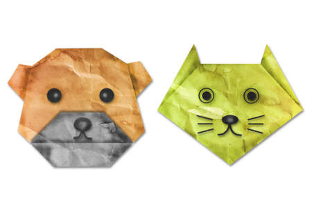 Vintage dog and cat origami paper. photo