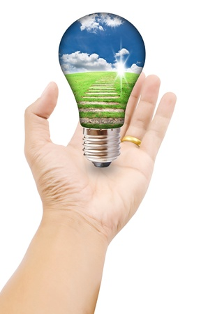Hand putting light bulb for save world. photo