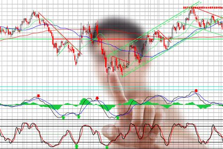 par: Businessman pushing finance graph for trade stock market on the whiteboard.