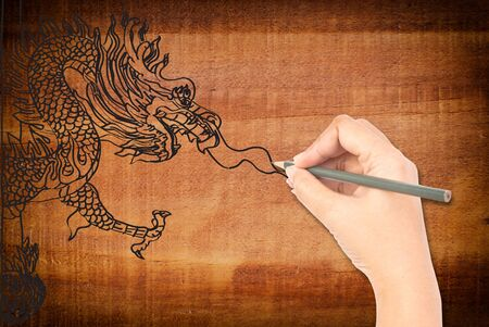 Hand drawing chinese style dragon statue. photo