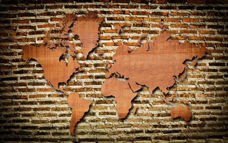Vintage world map carving on wood texture Stock Photo - 12718122