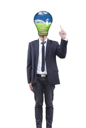 Businessman with light bulb concept. photo