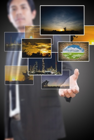 Businessman pushing many image button on the whiteboard Stock Photo - 12723850