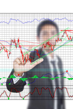 Businessman pushing finance graph for trade stock market on the whiteboard Stock Photo - 12660412