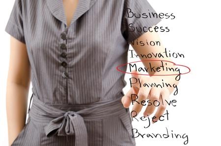 Business lady pushing Marketing word  photo