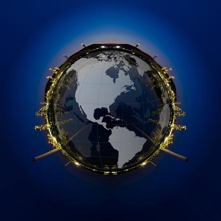 kraftwerk: Kreis Panorama der Petrochemie auf Sonnenuntergang dunkelblauen Himmel Lizenzfreie Bilder
