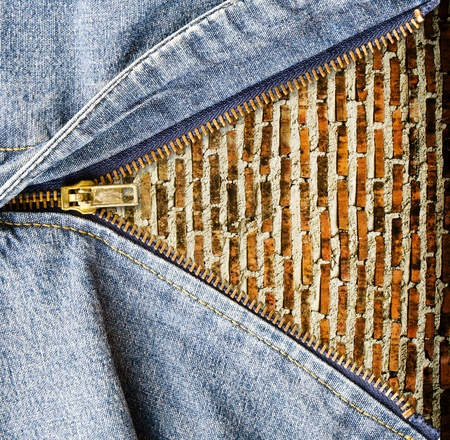 zip: Close up of zipper with grunge wall in blue denim  Stock Photo